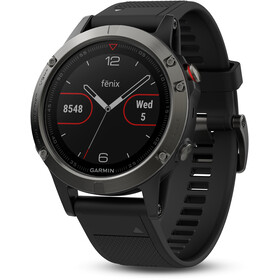 Garmin fenix 5 GPS Multi Sport Watch med sort armbånd, grey